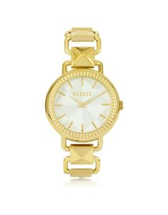 £173.95 Coconut Grove Golden Stainless Steel Womens Watch by Versus Versace is an elegant link style watch. Featuring gold ion-plated stainless steel link bracelet with pyramid accents flanking the round 21cm case white face with geometric pattern gold-tone stick indices two hands and logo with Quartz movement. Water resistant to 3 ATM.