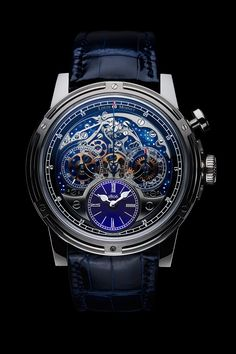 Louis Moinet includes openwork watches and traditional lateral-clutch chronographs in the Memoris collection...
