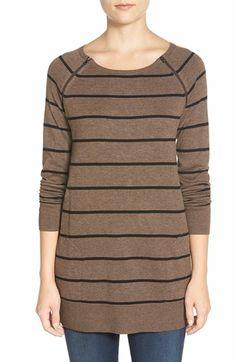 Caslon® Zip Seam Cotton Blend Tunic Sweater (Regular & Petite)   Nordstrom