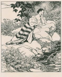 Writing a letter by Fernando Amorsolo, 1933, india ink with pencil on illustration board. Originally acquired by Whipple Hall and Ethel Crellin. Whipple Hall was American businessman who settled in Manila in 1909 and then returned to America in 1936. One of the folders containing the drawings bears a notation by Ethel Crellin dated 1933.