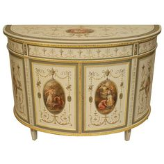 English Adam style (circa 2 door cream painted demilune shaped 2 door cabinet adorned with classical figures and motifs. (In the style of of ANGELICA KAUFFMAN). Antique Furniture For Sale, Gothic Furniture, Hand Painted Furniture, Estilo Adam, Antique Writing Desk, Adam Style, Cream Paint, Modern Cabinets, Vintage Antiques
