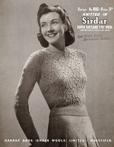 +++++++  Bell stitch jumper - Free vintage knitting pattern from 1940's Style For You
