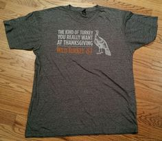 Wild Turkey 81 Bourbon Whiskey Gray T-Shirt 2-sided tee Men's Large Thanksgiving #Tultex #Tees