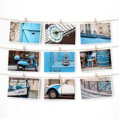 Paris Postcard Set Blue Paris Prints Paris by TheParisPrintShop