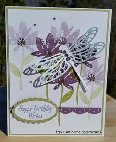 """Handmade BIRTHDAY, Thank You, Thinking Of You, Card Kit, Stampin Up """"Dragonfly Dreams"""" by decamerax3 on Etsy"""