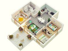 3 Bedroom Floor Plans - Home Design 3 Bedroom House Three Bedroom House Plan, Bedroom Floor Plans, 3 Bedroom House, 3d House Plans, Small House Plans, Casas The Sims 4, Apartment Plans, Bedroom Flooring, House Layouts
