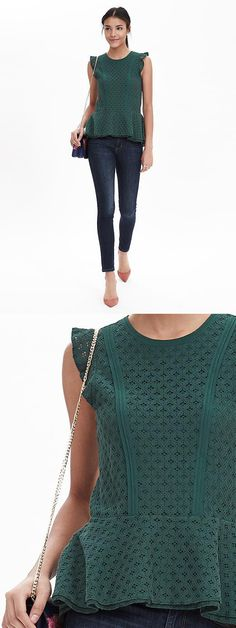 Add a feminine touch to your look with our cotton blend hunter green floral lace top | Banana Republic