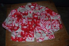 Christopher and Banks WMN's L Stretch RED, TAN, WHITE floral lightweight jacket #ChristopherBanks #BasicCoat #Casual