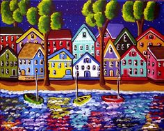 """""""Colorful Shoreline"""" by Renie Britenbucher, NE Ohio // Colorful shoreline with houses reflected in the water. // Imagekind.com -- Buy stunning, museum-quality fine art prints, framed prints, and canvas prints directly from independent working artists and photographers."""