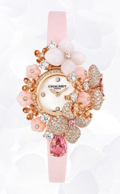 Chaumet Hortensia Secret watch in pink gold, set with diamonds, tourmalines and sapphires