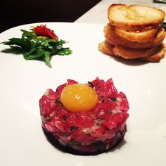 Beef Tartare: Calabrian chili, quail egg yolk, celery hearts, parsley and smoked salt with crostini. Chalkboard Restaurant, Sonoma California, Quail Eggs, Parsley, Celery, Chili, Beverages, Good Food, Salt