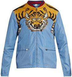 Gucci Tiger-print shell bomber jacket