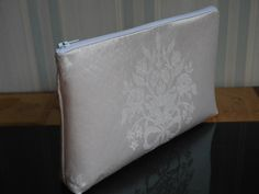 I made this zipped clutch bag from a remnant of vintage silk damask fabric woven in 1975 by Gainsborough Weaving for my wedding dress. The beautiful fabric has made an elegant bag which my client will be giving as a gift to a friend. Occasion Bags, Romantic Evening, Woven Fabric, Damask, Clutch Bag, Bespoke, Special Occasion, Weaving, Wedding Dress