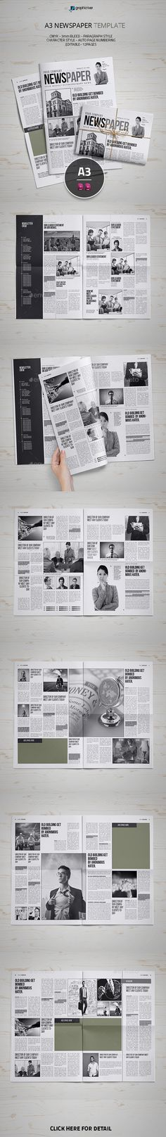A3 Newspaper Template InDesign INDD #design Download: http://graphicriver.net/item/a3-newspaper-template/13422885?ref=ksioks