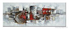 toile panoramique gris rouge abstraite