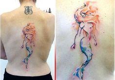 75 MERMAID TATTOO IDEAS - nenuno creative - The Blonde Mermaid. This blonde mermaid back piece is truly the thing worth getting. Mermaid Tattoo Designs, Mermaid Tattoos, Girl Tattoos, Tatoos, Mermaid Thigh Tattoo, Shark Tattoos, Back Piece Tattoo, Back Tattoo, I Tattoo