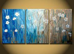 Contemporánea pintura abstracta, pinturas originales de flores sobre lienzo.    Ver closeups haga clic en arriba imágenes.    -Título: blanco flores