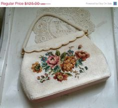 ON SALE Vintage Beaded Floral Tapestry Handbag by Gregarianne, $93.75 Scallop edge