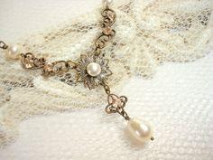 Delicate vintage style necklace bridal necklace by treasures570