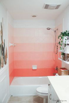 DIY painted pink ombré tile wall - Coral Gables - How to paint tile with oil-based enamel - Girls bathroom ideas-29