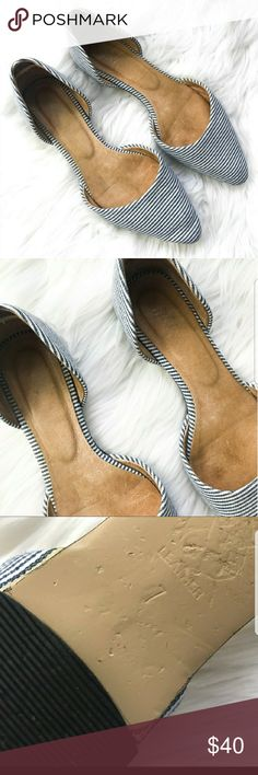 J. Jill D'Orsay Striped Flats These flats are way too cute to pass up! Not only are they cute, they are super comfortable and very well made. Leather soles and insoles. Overall, these flats are in great used condition. Only wear is on the bottoms, which arent seen when wearing. This is a reposh because they were too big for me. I'm normally a size 7, but these would fit a 7.5/8 best even though marked as 7's. About an inch extra room for me in the heel. Please let me know if you have…