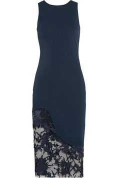 Haney | Natasha stretch-jersey and appliquéd point d'esprit dress | NET-A-PORTER.COM