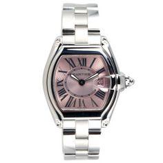 Cartier Stainless Steel Roadster Wristwatch with Pink Dial  Stainless Steel Cartier Roadster wristwatch with a pink dial and date, quartz movement. Circa 2000s #CraigEvanSmall #Cartier #VintageWatches