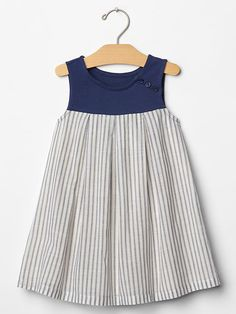 Stripe mix-fabric tank dress Product Image