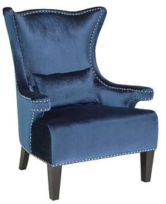 Alexis Royal Velvet Nail Head Trim Wingback Chair 649