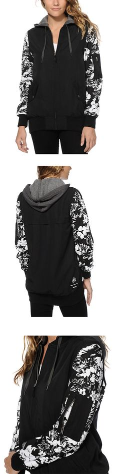 A long and slim fit solid black colored body is contrasted by floral print sleeves for a lush look, while the canvas construction with a fleece lining offers a comfortable wear.