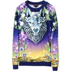 Manish Arora Sweatshirt ($190) ❤ liked on Polyvore featuring tops, hoodies, sweatshirts, dark blue, long sleeve tops, cotton sweatshirt, long sleeve cotton tops, patterned sweatshirt and pattern tops