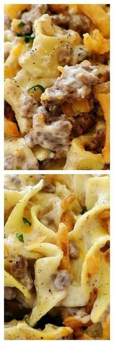 French Onion Beef Casserole- I love this. Added some garlic powder and used regular pasta. Great Recipes, Dinner Recipes, Favorite Recipes, Dinner Casserole Recipes, Dinner Ideas, Beef Dishes, Food Dishes, Main Dishes, Food Food