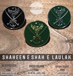 Shaheen e Shah e Laulak 3d Metal Lapel pin 1500 Whatsapp 03338345558 Based on the Great Verse of Allama Muhammad Iqbal Sb ترا جوہر ہے نُوری، پاک ہے تُو فروغِ دیدۂ افلاک ہے تُو ترے صیدِ زبوں افرشتہ و حُور کہ شاہینِ شہِ لولاکؐ ہے تُو! Dedicated to Tri Services of Pakistan Armed Forces & All Ghazis Warriors Shaheens What Does Shaheen e Shah e Laulak (SAWS) mean? Yes it means the Shaheens Flag Bearers Soldiers of King of the Universe Prophet Muhammad (SAWS) for Whom Allah Al Mighty mad Pakistan Armed Forces, Prophet Muhammad, Pin Badges, Lapel Pins, Dog Tags, Allah, King, The Originals, Metal