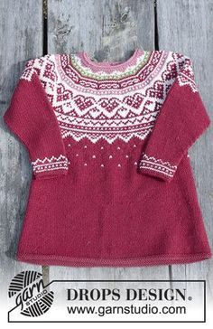 Visby Tunic / DROPS Children - Set consists of: Tunic for kids with round yoke, multi-coloured Norwegian pattern and A-shape, knitted top down. Head band with multi-coloured Norwegian pattern. Size 2 - 12 years Set is knitted in DROPS Merino Extra Fine. Baby Knitting Patterns, Knitting For Kids, Knitting Designs, Baby Patterns, Free Knitting, Dress Patterns, Tunic Pattern, Headband Pattern, Drops Design