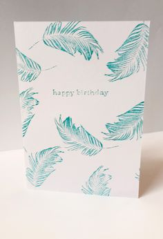 feather leaves birthday card by maria nilsson