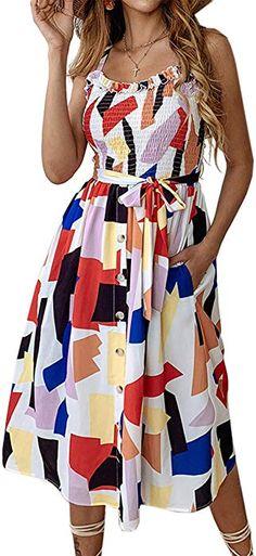 11f0820c6d61 Angashion Women's Dresses - Summer Boho Floral Spaghetti Strap Button Down  Belt Swing A line Midi