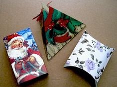 Using cards - Christmas or otherwise - to make gift boxes. Great idea for jewelry or gift cards!