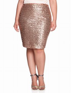 Plus Size Gold Sequin Skirt