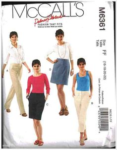 McCall's Sewing Pattern M6361 Misses' Pants in two lengths, Shorts, Skirt Size: B5 8-10-12-14-16 Used