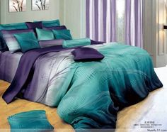 Hot Beautiful 4PC 100% Cotton Comforter Duvet Doona Cover Sets FULL / QUEEN / KING SIZE bedding set 4pcs blue purple stripe AP-5 $189.00