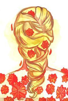 Marigold Hair Original Fashion Illustration Watercolor Painting Woman Hairstyle Flowers Marigold Orange Fashion Painting By Niina Niskanen Watercolour Hair, Watercolor Paintings Nature, Watercolors, Watercolor Paper, Orange Art, Yellow Art, Original Artwork, Original Paintings, Fashion Painting