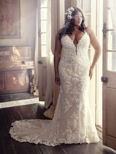 Wedding Dress TUSCANY MARIE by Maggie Sottero - Search our photo gallery for pictures of wedding dresses by Maggie Sottero. Find the perfect dress with recent Maggie Sottero photos. How To Dress For A Wedding, Plus Size Wedding Gowns, Lace Wedding Dress, Designer Wedding Dresses, Bridal Dresses, Bridesmaid Dresses, Wedding Dress Brands, Plus Size Brides, Modest Wedding