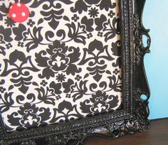 Ornate Framed Damask Black and White PIn Board Hostess Gift Holiday Display Gift For Her Nursery Decor Bulletin Memo Board on Etsy, $40.82