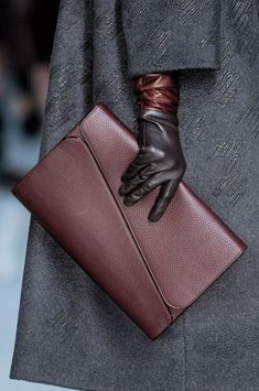 Dior, Fall 2012 ~ Beautiful gray coat and gray leather gloves with plum trim Leather Gloves, Leather Clutch, Leather Handbags, Dior Clutch, Clutch Bag, Tote Bags, Sacs Design, Best Handbags, Leather