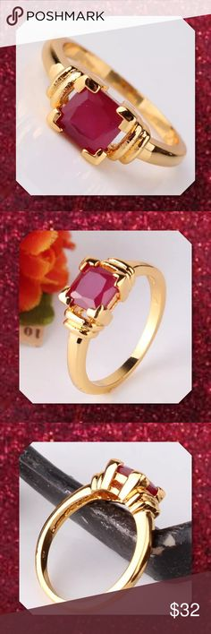 JUST INLab Created Ruby Yellow Gold Filled Ring Gem Type: Lab Created Ruby Gem Size: 6mm Gem Quantity: 1 Gem Cut: Princess Brilliant Gem Color: red Metal Type: 18k gold filled Gram Weight: 2.5grams Sizes Avail: 5, 6, 7, 8, 9 Come with a pretty box   PRICE FIRM UNLESS BUNDLED ⭐️⭐️SORRY NO TRADES AND LOWBALL OFFERS WILL BE IGNORED ⭐️⭐️ Glam Squad 2 You Jewelry Rings
