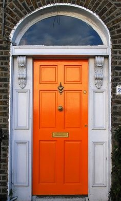 Front Door Paint Colors - Want a quick makeover? Paint your front door a different color. Here a pretty front door color ideas to improve your home's curb appeal and add more style! Front Door Paint Colors, Painted Front Doors, Orange Front Doors, Closed Doors, Windows And Doors, Gates, My Dream Home, House Design, Windows