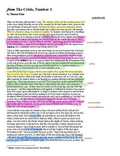Annotated excerpt from Thomas Paine's The Crisis The Crisis Thomas Paine, Flip Out, Periodic Table, Age, This Or That Questions, Reading, Store, Periodic Table Chart, Periotic Table