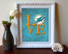 """Miami Dolphins football """"Love"""" ART PRINT, Sports Wall Decor, man cave gift for him, Unframed #dolphins #miami"""