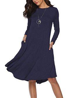 abf936aa MYTHFAYE Women's Plain Long Sleeve Pockets Pleated Loose Midi Dress Plain  Swing Casual Dresses (Blue, Small) at Amazon Women's Clothing store: