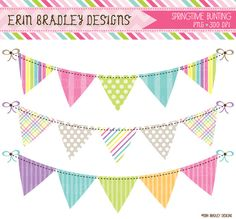 Springtime Bunting Banner Flag Clipart Clip Art Set Personal & Commercial Use